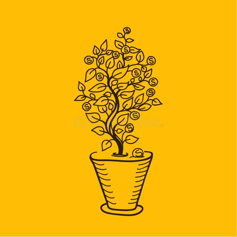 Árvore do dinheiro da imagem em um potenciômetro ilustração stock