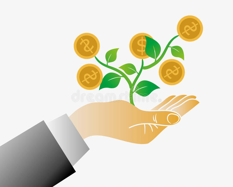 Árvore do dinheiro de sua mão ilustração stock