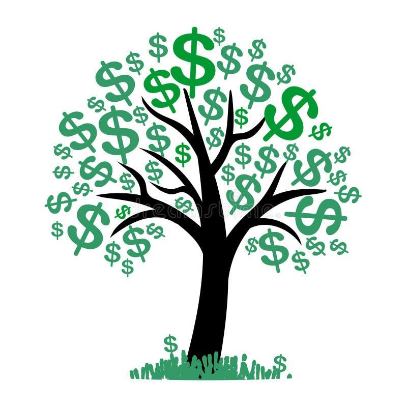 Árvore do dinheiro do vetor com dólares ilustração royalty free
