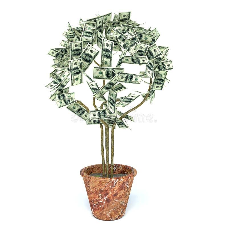 Árvore do dinheiro feita de cem notas de dólar, isolado no backg branco ilustração do vetor