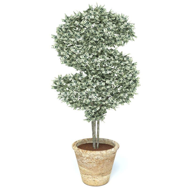 Árvore do dinheiro feita de cem notas de dólar, isolado no branco ilustração royalty free