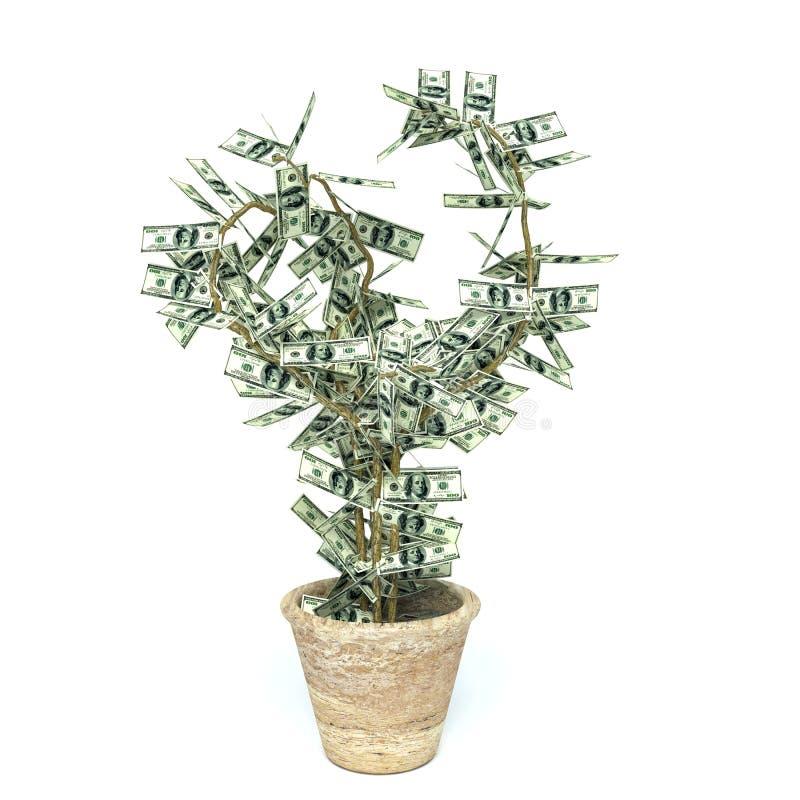 Árvore do dinheiro feita de cem notas de dólar, isolado no branco ilustração stock