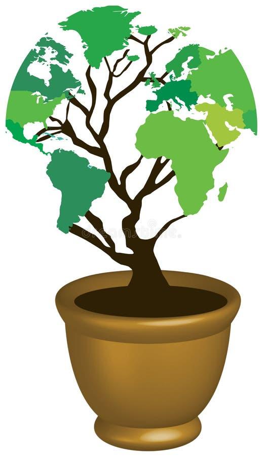 Árvore do eco do mapa de mundo ilustração royalty free