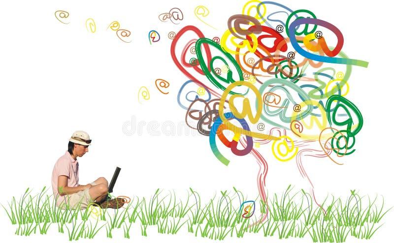 Árvore do email no outono ilustração stock