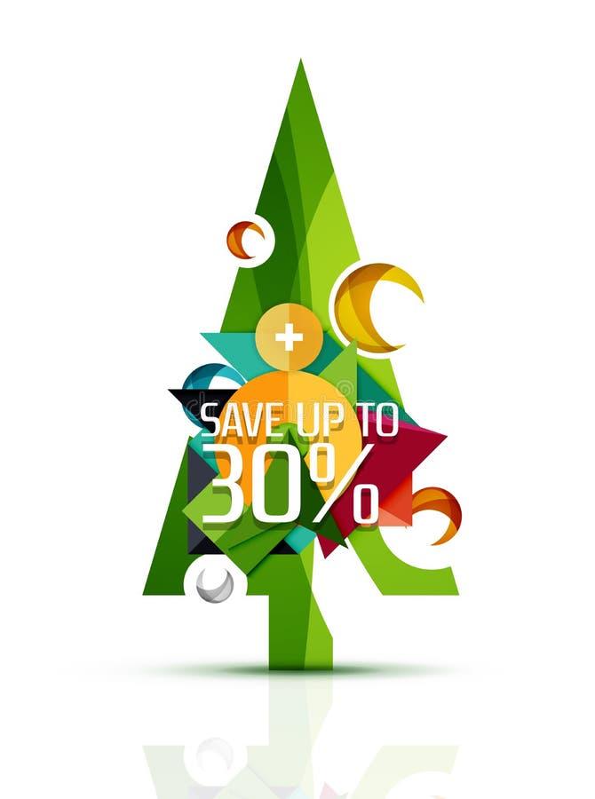 Árvore do Feliz Natal com anúncio publicitário da promoção ilustração stock