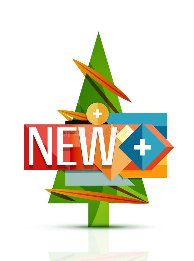 Árvore do Feliz Natal com anúncio publicitário da promoção ilustração royalty free
