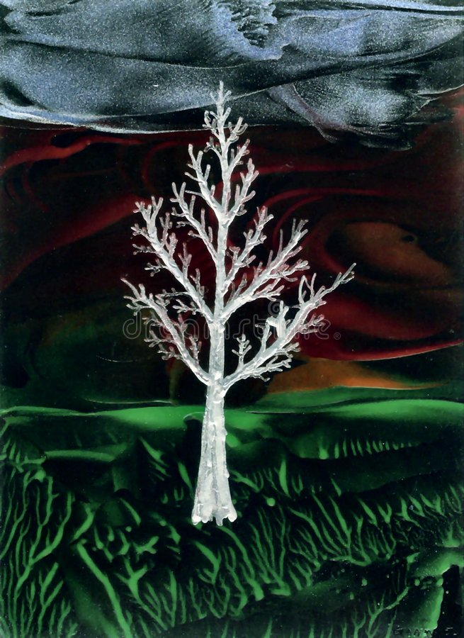 Árvore do gelo na noite ilustração do vetor