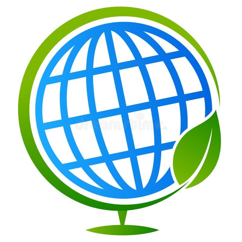 Árvore do globo com logotipo da folha ilustração royalty free