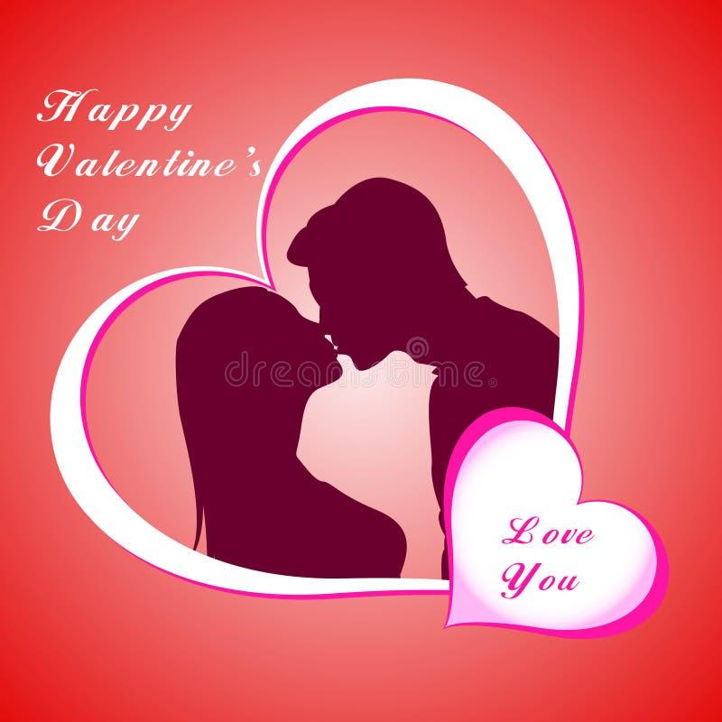 Árvore do homem, da mulher e de amor com corações em uma grama ilustração royalty free
