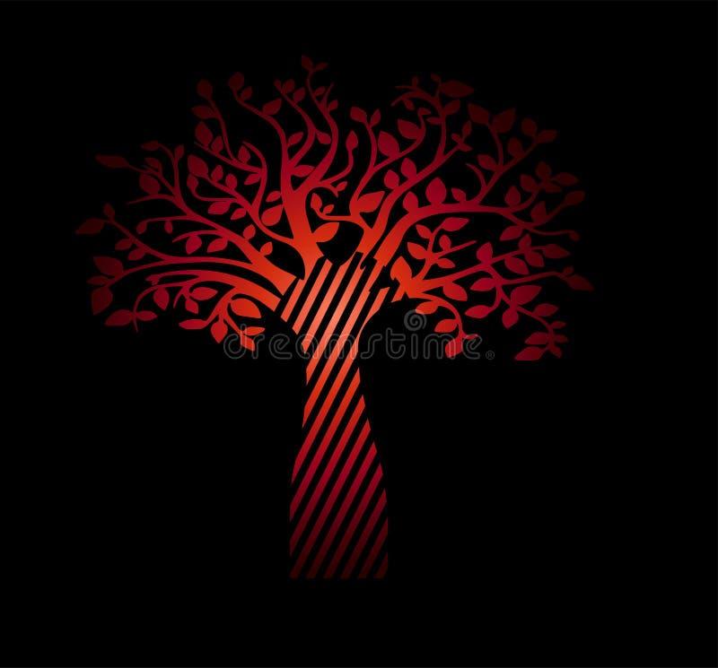Árvore do inclinação de vida vermelha no fundo preto Esboço bonito do vintage de uma planta ilustração do vetor