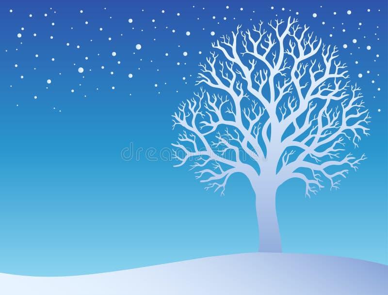 Árvore do inverno com neve 3 ilustração royalty free