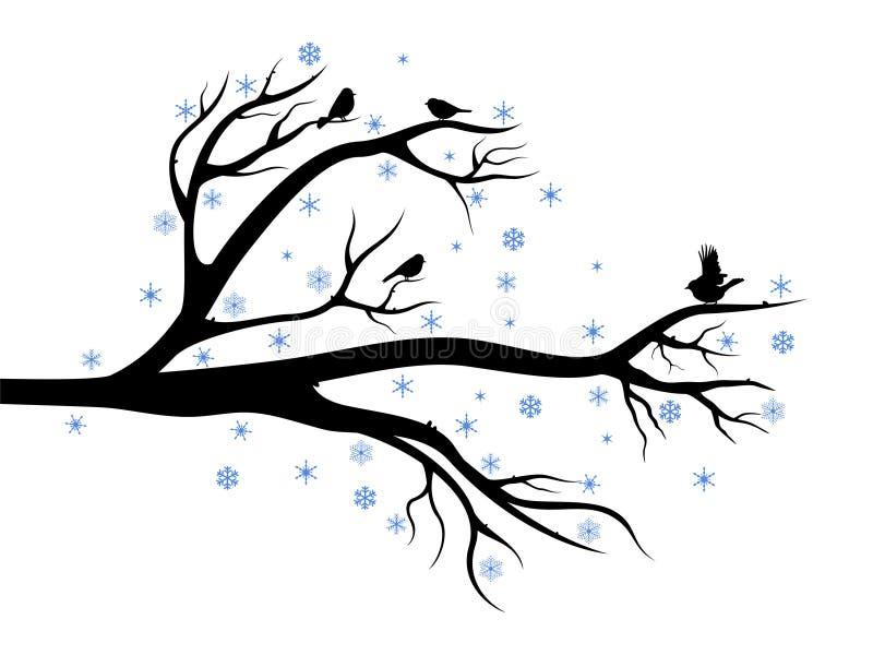 Árvore do inverno com pássaros ilustração royalty free
