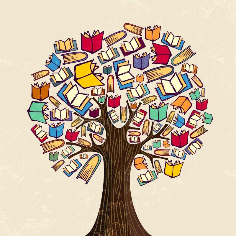 Árvore do livro para a ilustração do conceito da educação ilustração stock