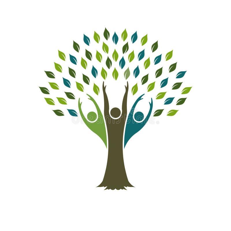 Árvore do logotipo humano dos povos ilustração do vetor