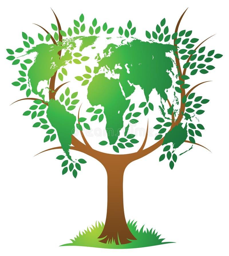 Árvore do mapa do mundo ilustração do vetor