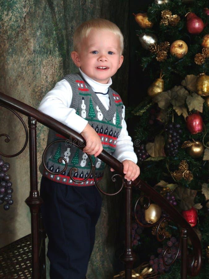Árvore do menino e de Natal imagem de stock royalty free
