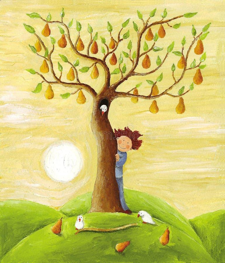 Árvore do menino e de pera ilustração do vetor