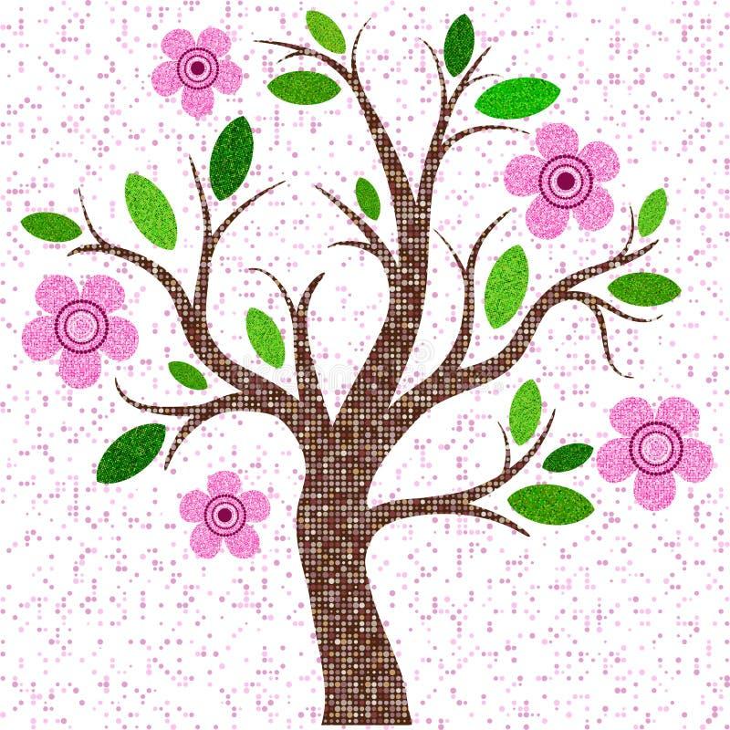 Árvore do mosaico da mola com flores cor-de-rosa ilustração royalty free