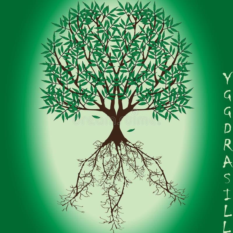 """Árvore do mundo vetor do †de Yggdrasil do """"da mitologia escandinava ilustração royalty free"""
