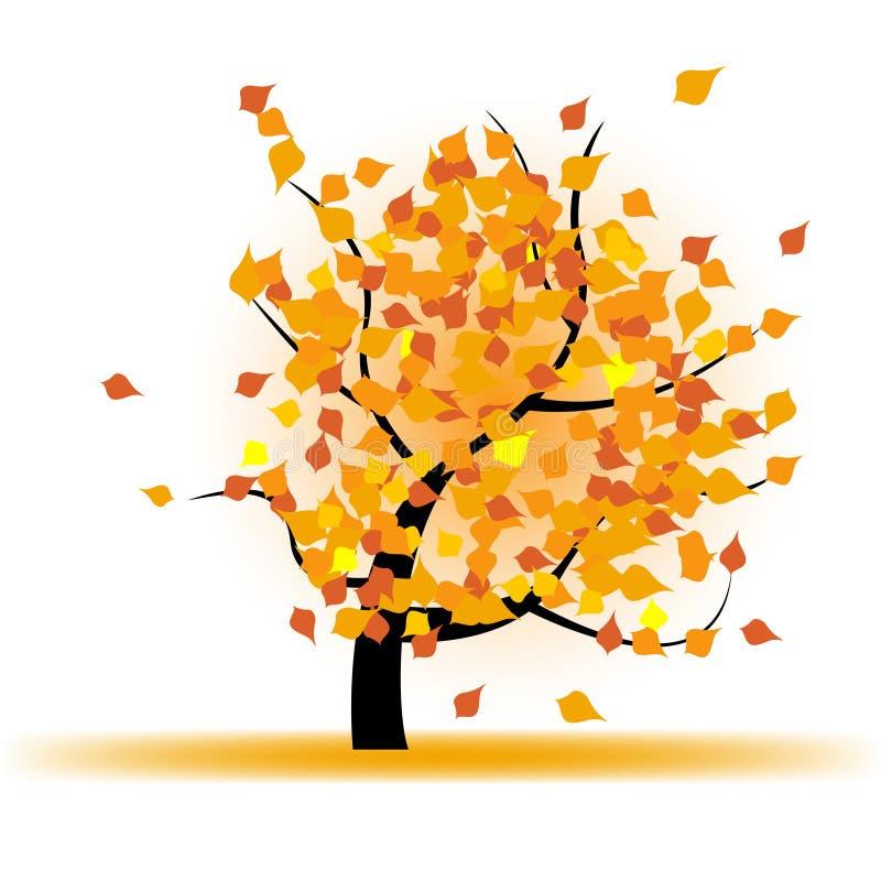 Árvore do outono com folhas de queda ilustração do vetor
