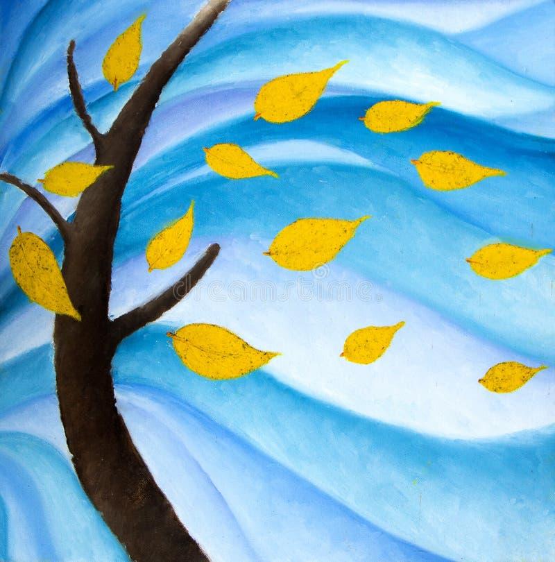 Árvore do outono com folhas de queda ilustração royalty free