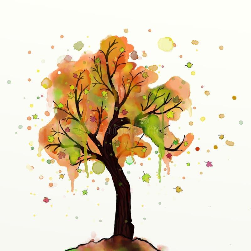 Árvore do outono da aquarela ilustração do vetor