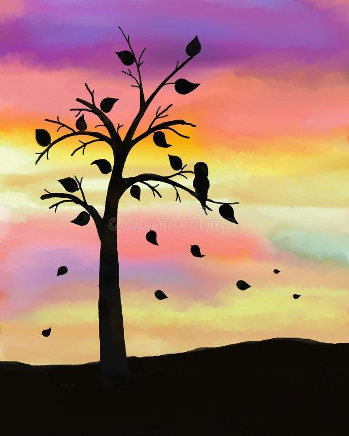 Árvore do outono no por do sol ilustração royalty free