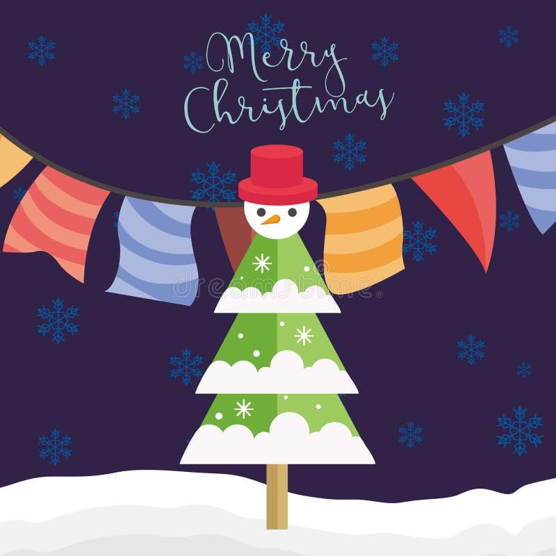 Árvore do partido do Feliz Natal com ilustração do gráfico de vetor do boneco de neve ilustração stock