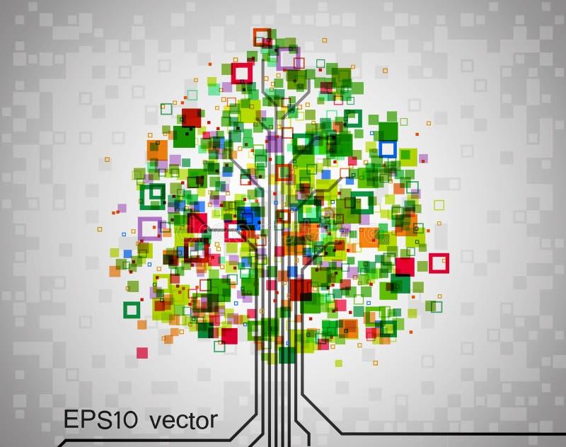 Árvore do pixel ilustração stock
