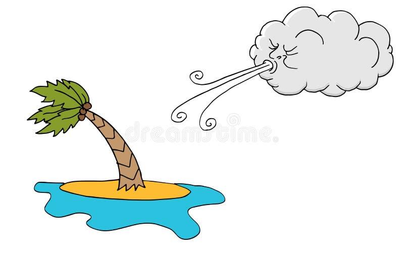 Árvore do plam da ilha de Windy Day e vento de sopro da nuvem ilustração royalty free