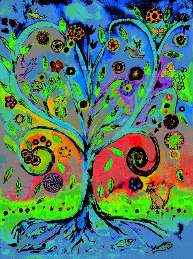 Árvore do pop art de vida ilustração royalty free
