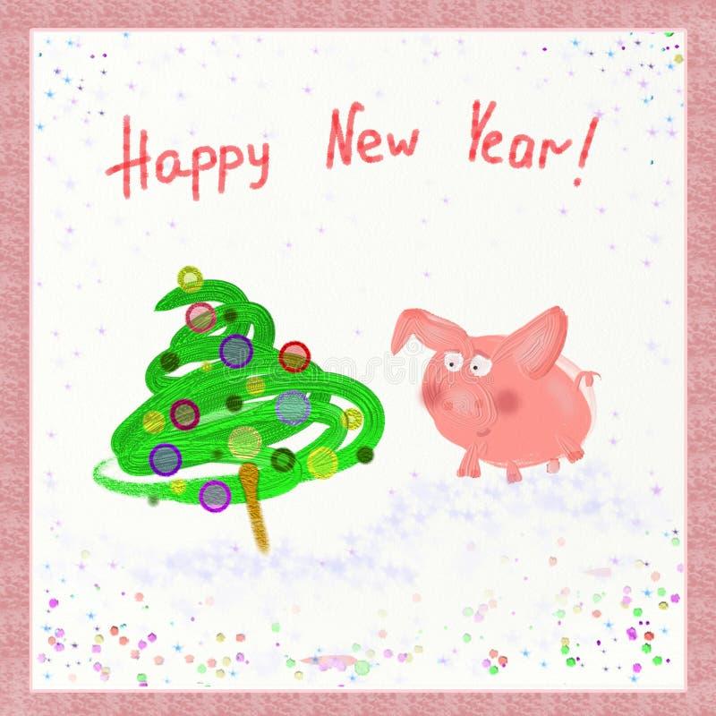 Árvore do porco e de Natal com bolas Ano novo feliz Símbolo de 2019 Horóscopo oriental ano novo feliz 2007 ilustração stock