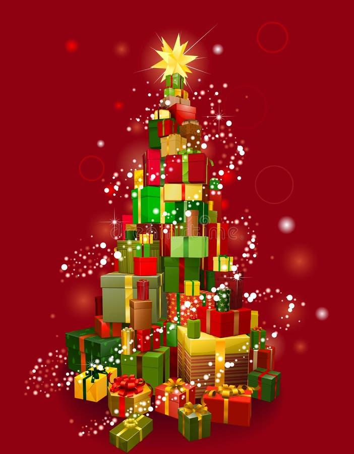 Árvore do presente do Natal com fundo vermelho ilustração do vetor