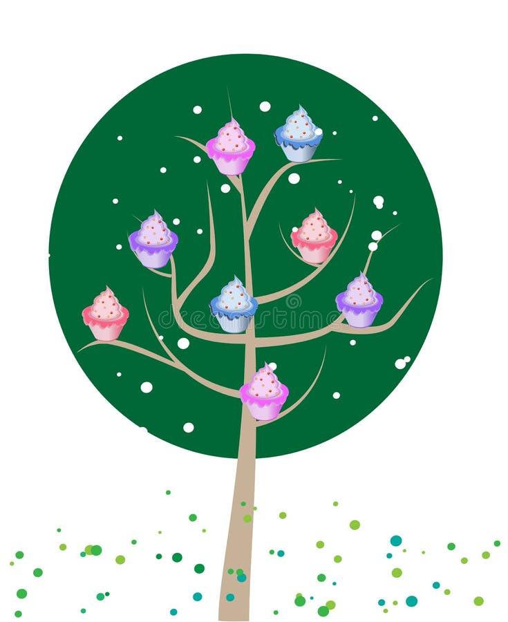 Árvore do queque ilustração stock