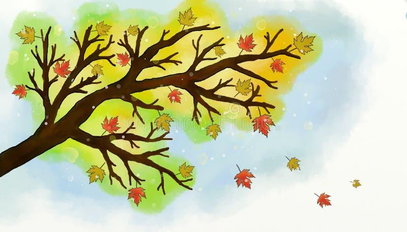 Árvore do ramo do outono da aquarela ilustração do vetor