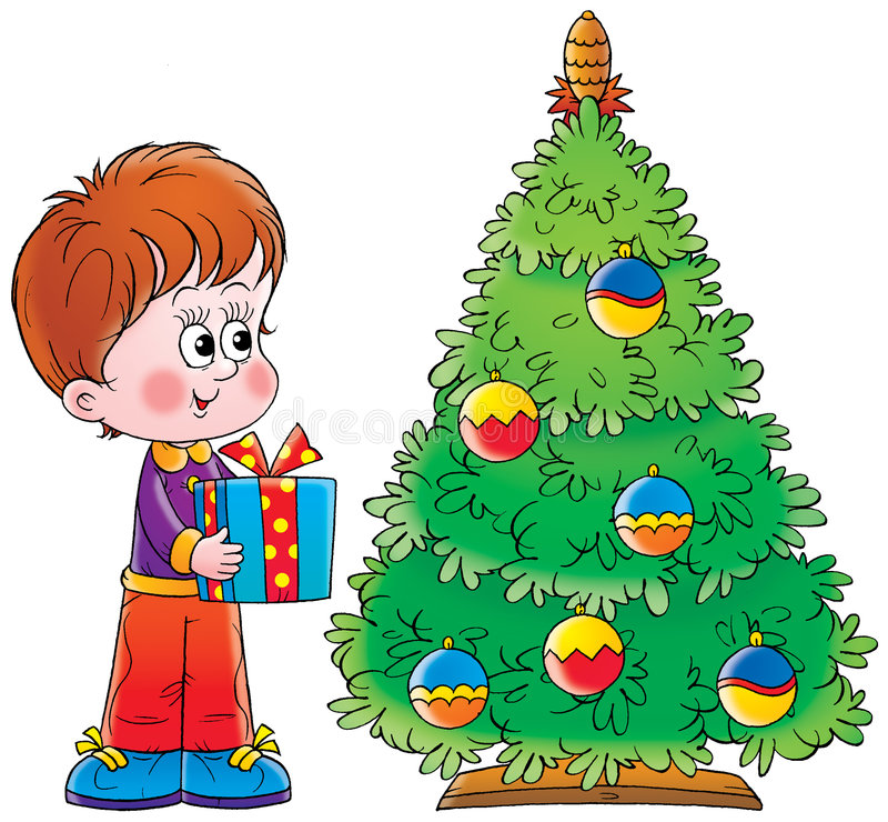 Árvore do rapaz pequeno e de Natal ilustração do vetor