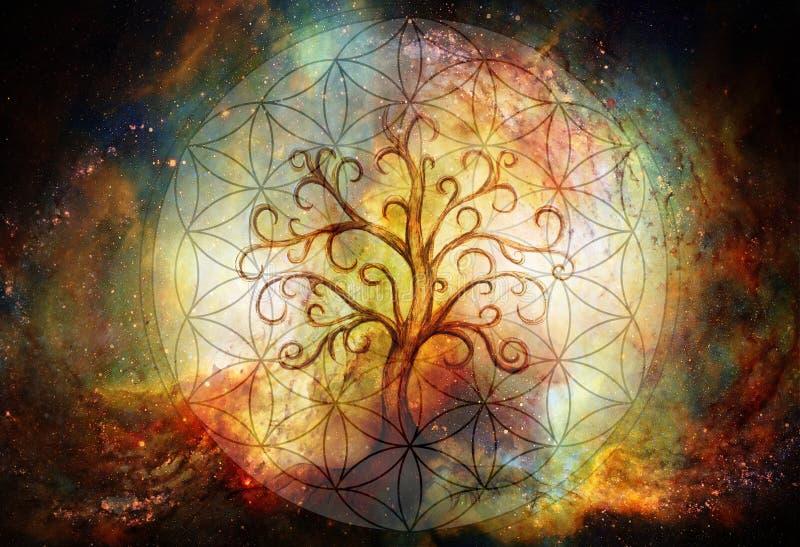 Árvore do símbolo da vida e flor do fundo da vida e do espaço, yggdrasil ilustração do vetor