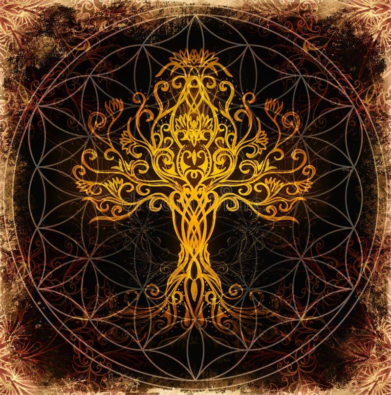 Árvore do símbolo da vida no fundo decorativo estruturado, flor do teste padrão da vida, yggdrasil ilustração stock