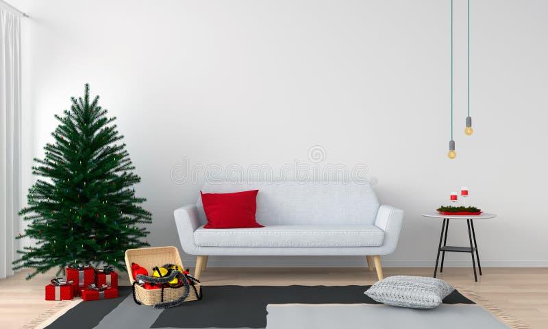 Árvore do sofá e de Natal na sala de visitas, rendição 3D imagem de stock royalty free