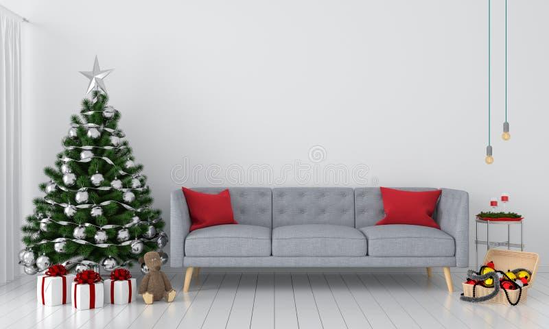 Árvore do sofá e de Natal na sala de visitas, rendição 3D ilustração do vetor