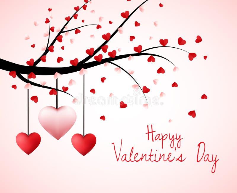 Árvore do Valentim com as folhas dadas forma coração e corações de suspensão ilustração stock