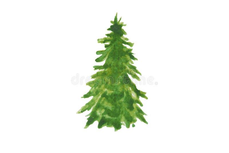 Árvore do verde do Natal da aquarela Ilustração desenhada mão Aquarela do inverno isolada Fundo do Natal fotos de stock royalty free