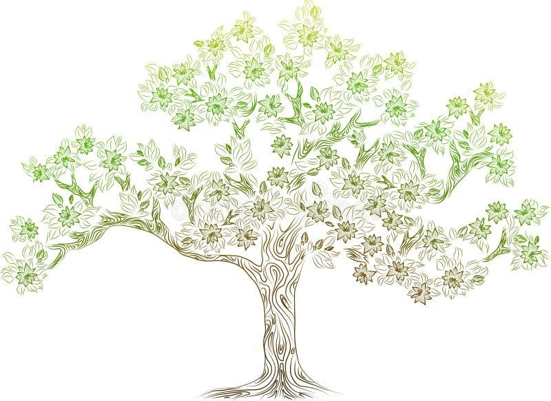 Árvore do vetor com flowes ilustração royalty free