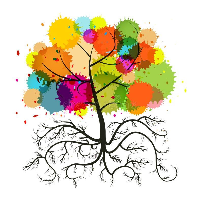A árvore do vetor com raizes e colorido abstratos espirram ilustração do vetor