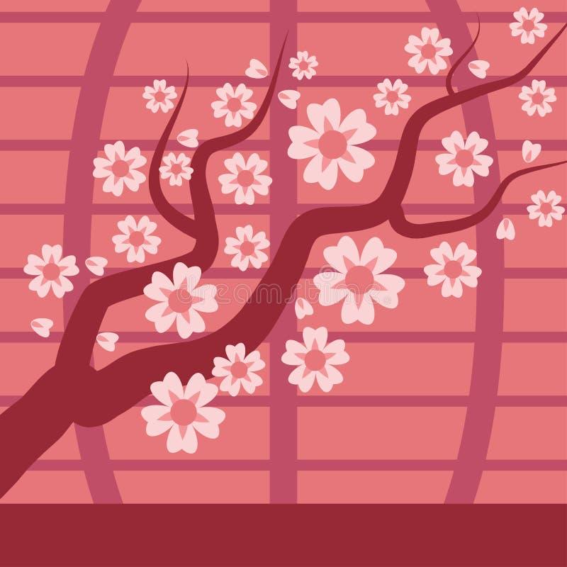 A árvore do vetor do ramo da cereja de Sakura japão com florescência floresce a ilustração Flor da cereja de Sakura japão e rosa  ilustração do vetor