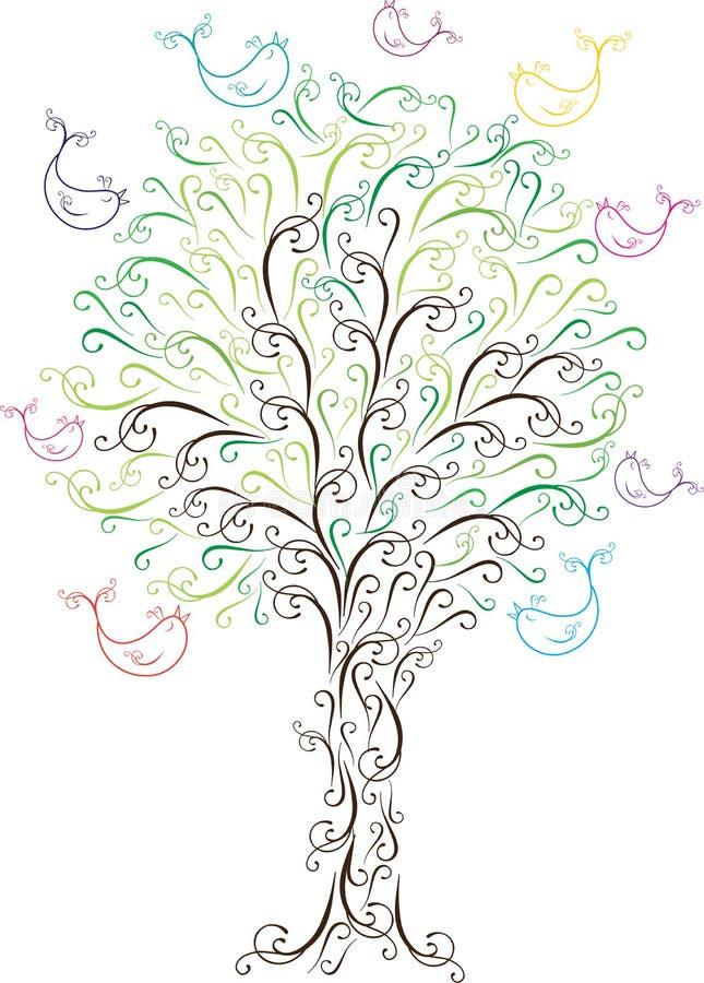 Árvore do vintage com pássaros ilustração royalty free