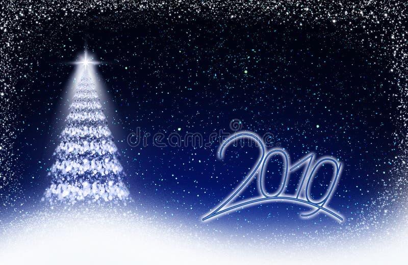 Árvore do White Christmas e céu das estrelas azuis Ano novo 2019 imagem de stock