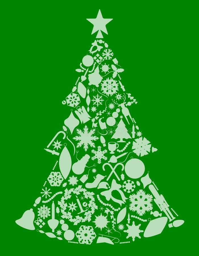 Árvore do Xmas das silhuetas ilustração stock
