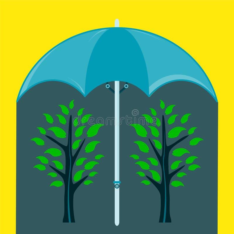 Árvore dois verde sob um guarda-chuva ilustração do vetor
