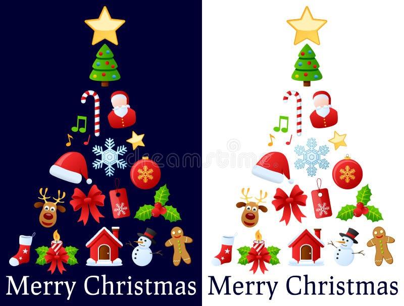 Árvore dos ícones do Natal ilustração royalty free